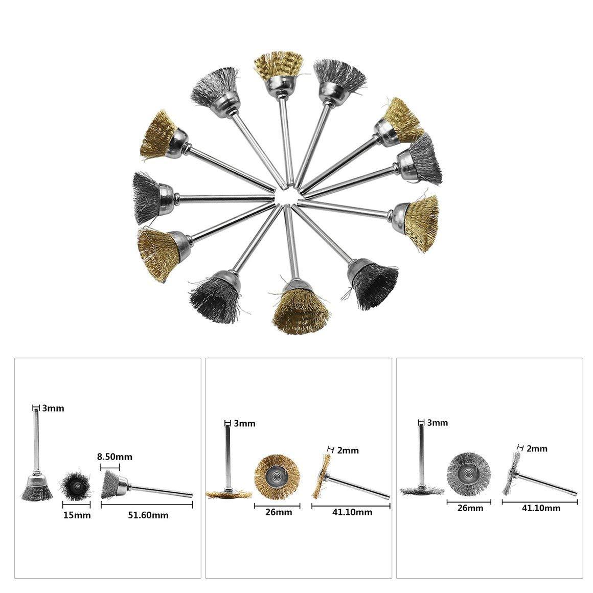 Funnyrunstore 98pcs mini cepillo giratorio de alambre de acero inoxidable cepillo de alambre peque/ños cepillos de alambre set accesorios para mini taladro herramientas rotativas