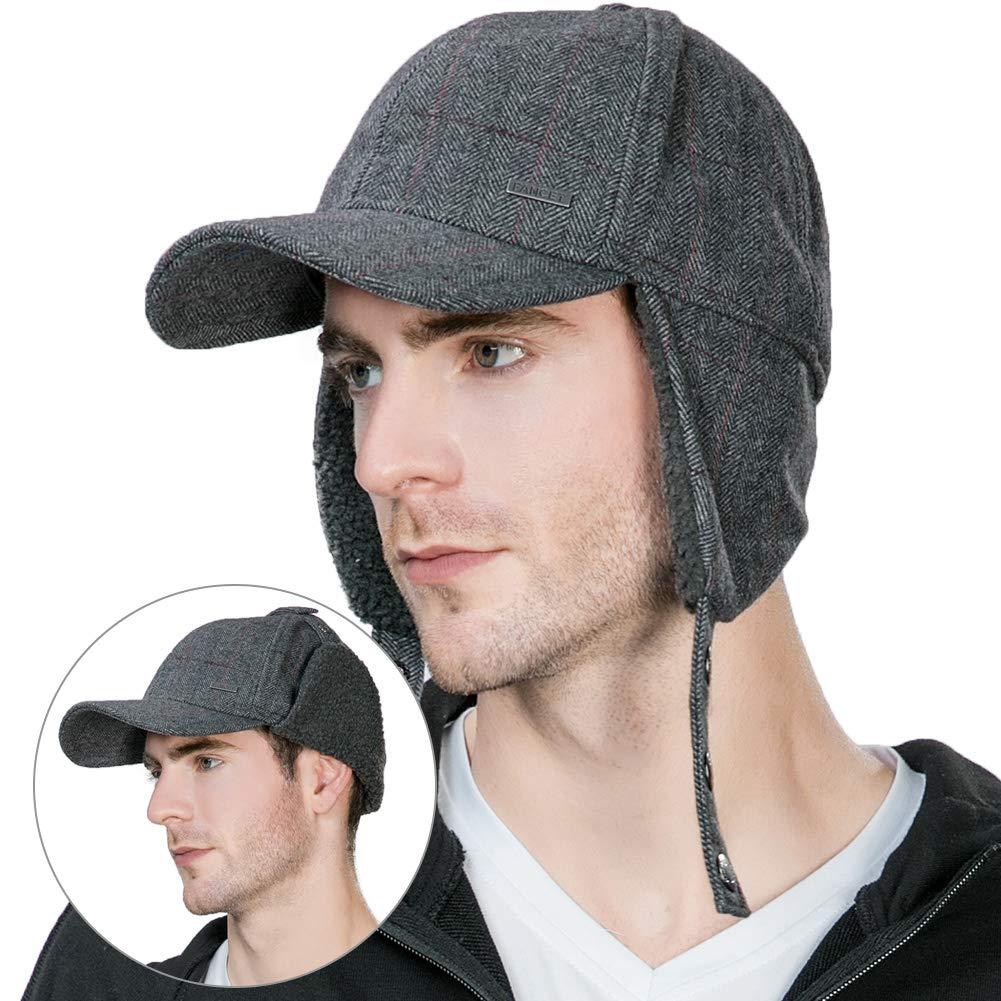 62% Wool Tweed Winter Baseball Cap with Ear Flaps Fleece Earflaps Trapper Hunting  Hat Elastic 2b93f90948c8