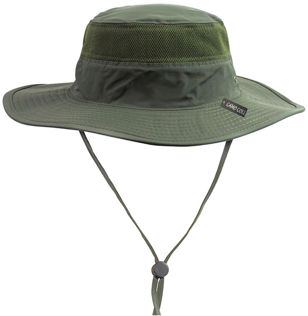 Amazon.com  Camo Coll Outdoor Sun Cap Camouflage Bucket Mesh Boonie Hat (Army  Green ea365e06fabf