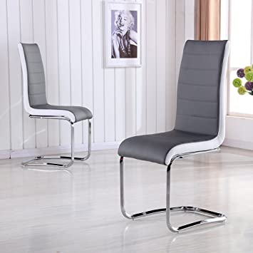Schindora Faux Leather Dining Chairs With High Back And Chrome Legs