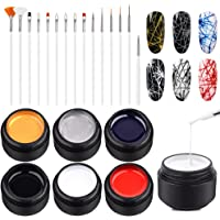Ownest 6 Colors Spider Gel, Matrix Gel with Gel Paint Design Nail Art Kit Wire Drawing Nail Gel for Line, Soak Off UV LED DIY Manicure Nail Art Decoration with 15 Nail Art Brushes