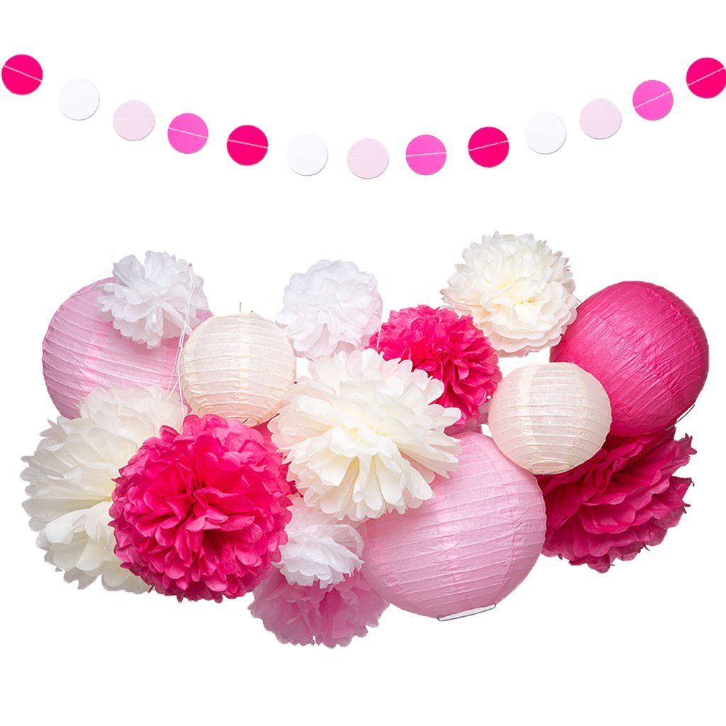 Pink and White Party Decorations Supplies Paper Lanterns Tissue Paper Pom Poms Dot Garland Kit for Wedding Birthday Bachelorette Baby Shower for Girls 19Pcs by Jmay
