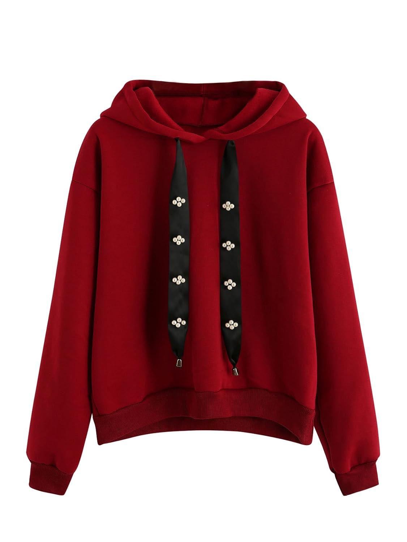 Romwe Womens Casual Pearl Beading Ribbon Detail Long Sleeve Knit Hoodie Fingerless Maroon Pullover Sweatshirt At Amazon Clothing Store