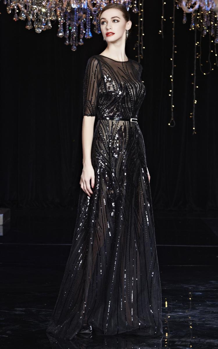 Beauty-Emily Maxi See-Through Sequin O Neck Half Sleeve Sash Zip Christmas Gifts Night Evening Dresses Color Black,Size 20W by Beauty-Emily (Image #4)