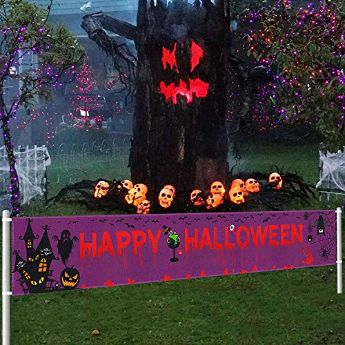 Large Halloween Banner Outdoor | Halloween Banner Decoration | Funny Halloween Scary Bloody Banner | Halloween Yard Banners | Halloween Party Decoration Supplies(9.8 x 1.5FT)