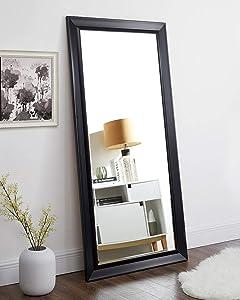 """Naomi Home Framed Bevel Leaner Mirror Black/66"""" x 32"""""""