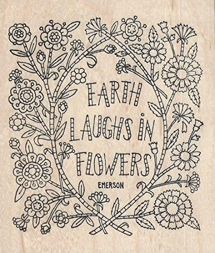 Earth Laughs Rubber Stamp Wood Mounted by Pink Ink 2258P