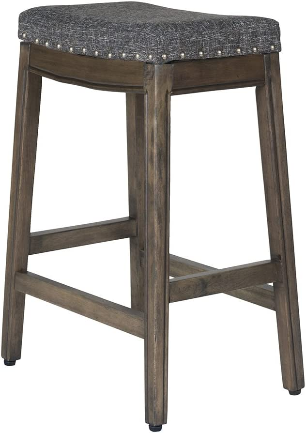 24-inch Linen HomePop Blake Backless Counter Barstools