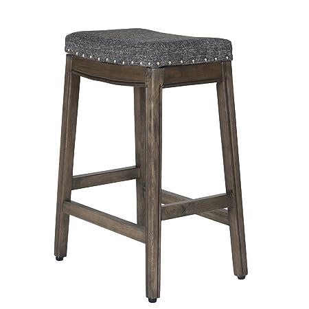 HomePop Blake Backless Counter Barstools, 24-inch, Dark Grey