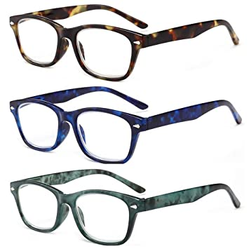 74cab2c440f9 Amillet 3 Pairs Value Pack Reading Glasses Spring Hinges Frame 3 Colors in  Gift Packing Readers