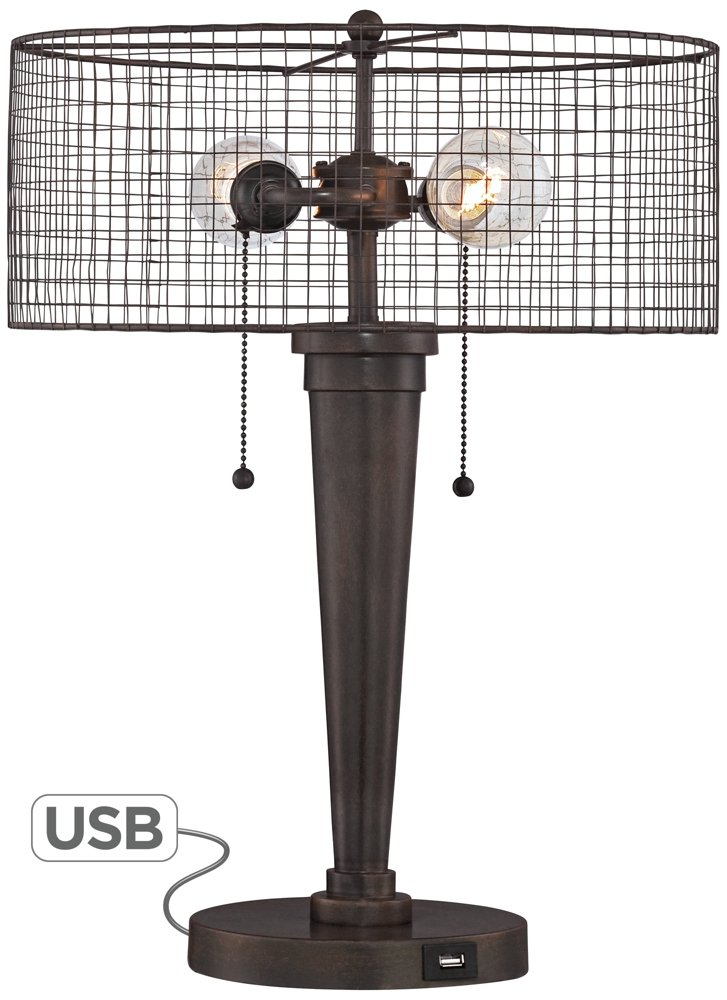 Nolan 20 3 4 H Industrial Accent Table Lamp With Usb Port Amazon Com