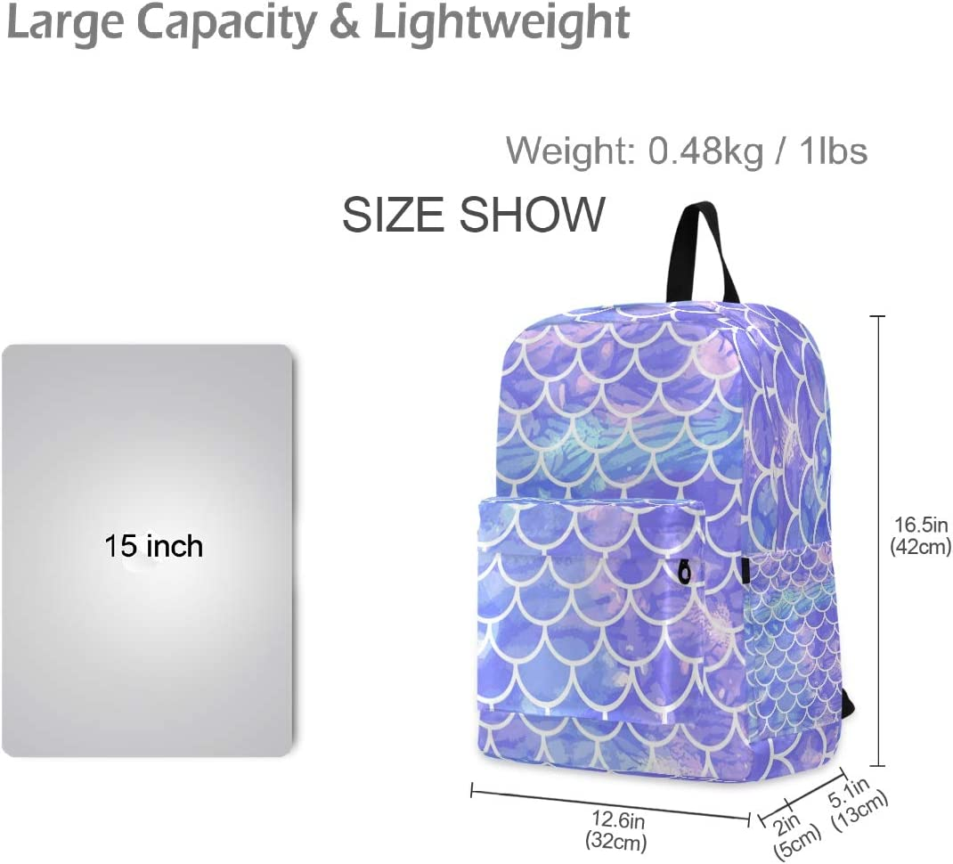 Casual Backpacks Lightweight Back Pack Purple Mermaid Scale Outdoor Daypack for Women Men Camping Biking Hiking Cycling Fits up to 15.6 Inch Laptop