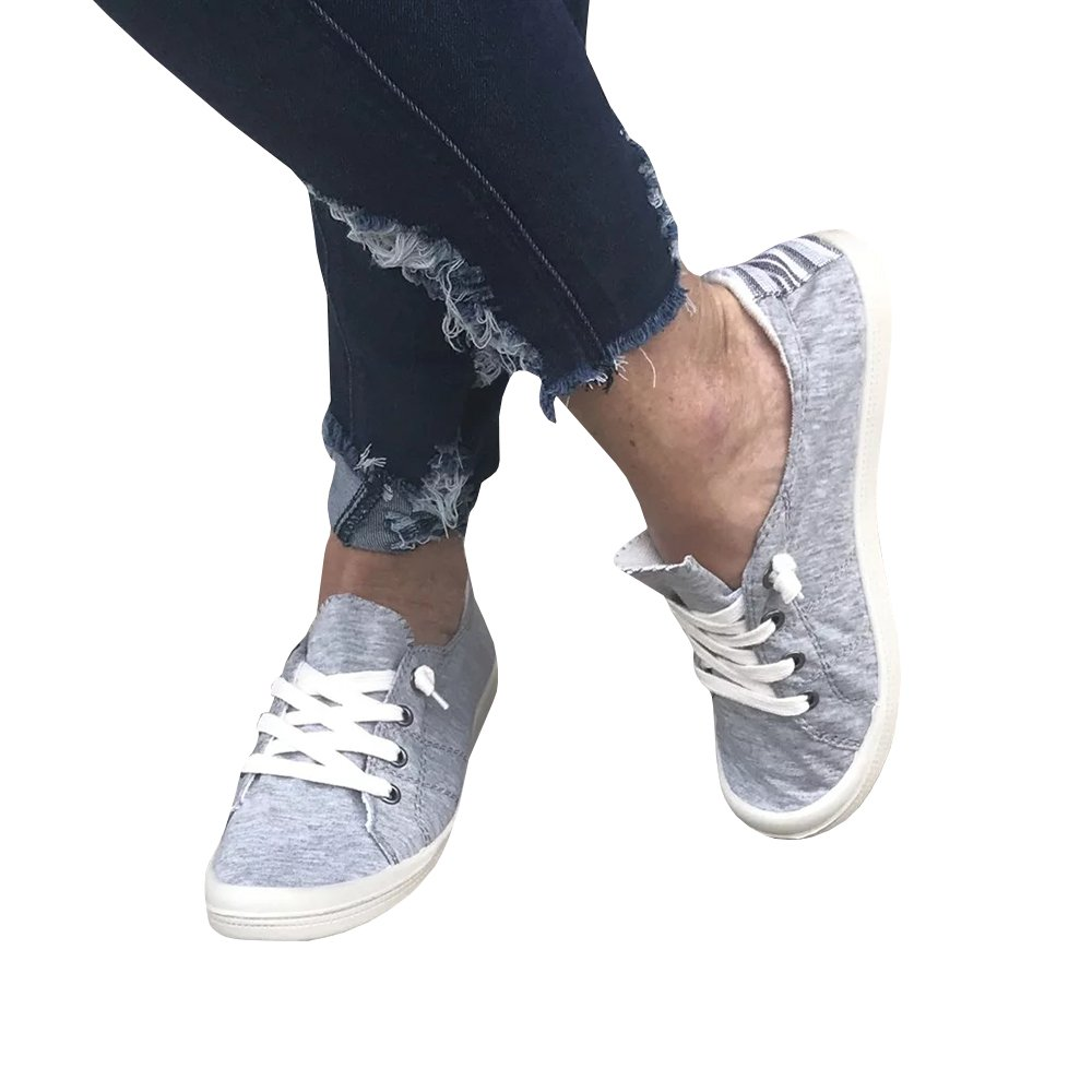 Womens Summer Canvas Sneakers Low Top Lace up Slip-On Flats Shoes (8.5 B(M) US-EU Size39, Grey-B)