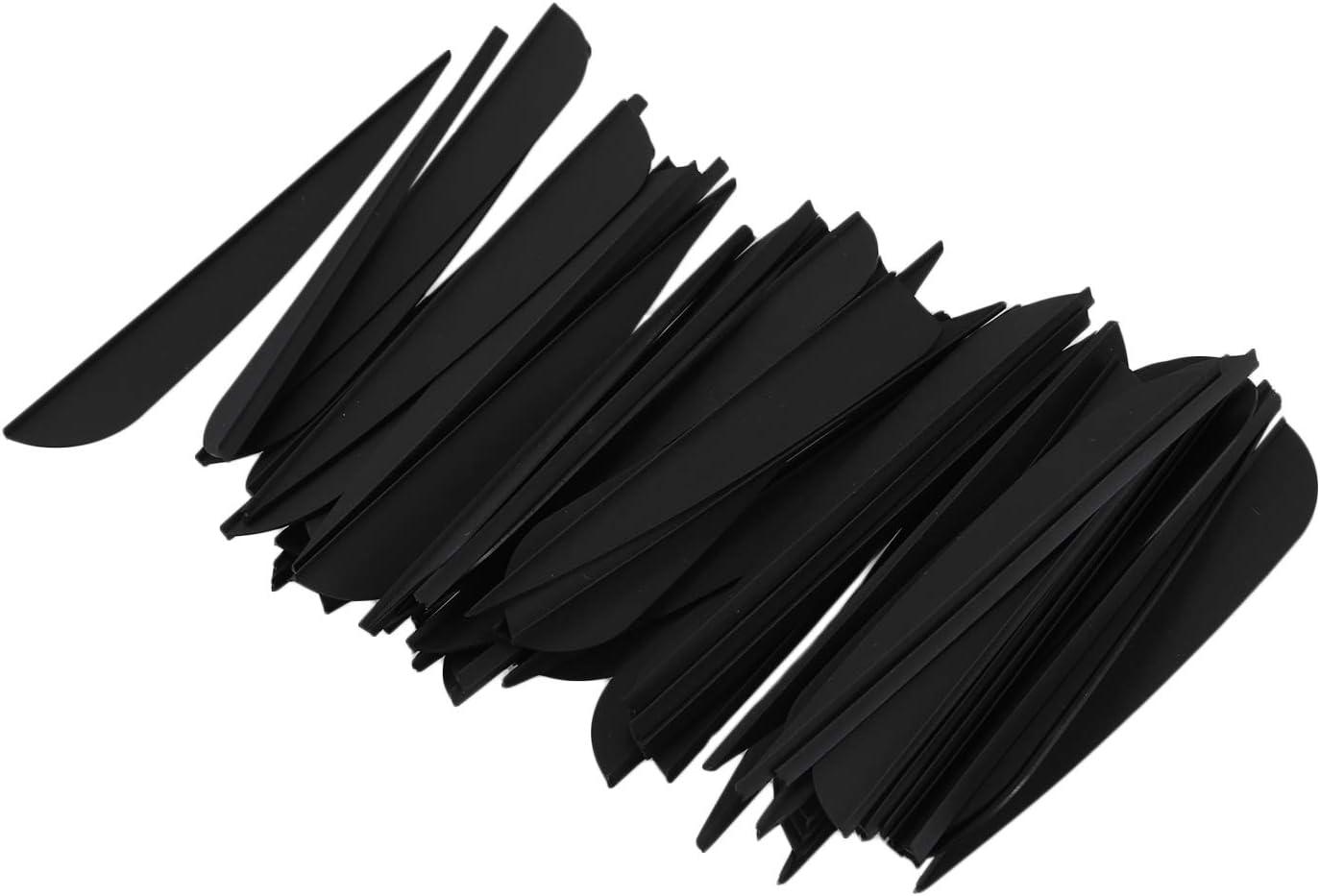 Fauge Arrows Vanes 4 Inch Plastic Feather Fletching for DIY Archery Arrows 50 Pack Black