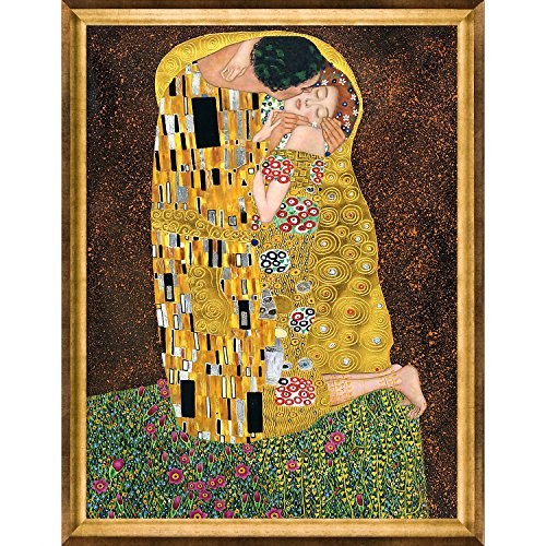 La Pastiche KLG1240-FR-994636X48 Framed Oil Painting The Kiss Full view Metallic Embellished by Gustav Klimt with Athenian Gold (View Oil Painting)