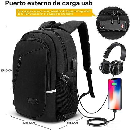 Mochila antirrobo Mochila Daypack de 30L con puerto de carga USB Interfaz para auriculares y bloqueo con contraseña mochila impermeable a diario mo