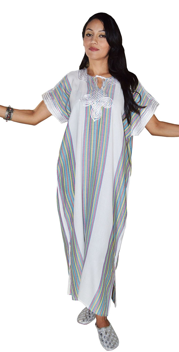 Moroccan Caftans Women Light Weight Linen Handmade One Size fits Small to Large Cover-up Lounge wear Ethnic Design White