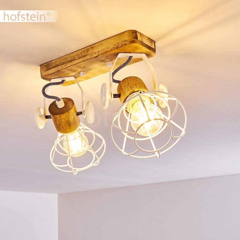Deckenlampe aus Metall//Holz in Grau//Braun auch als Wandleuchte zu verwenden Spot im Retro//Vintage Design 60 Watt 1-flammig mit verstellbaren Strahlern E27-Fassung max Deckenleuchte Nifun