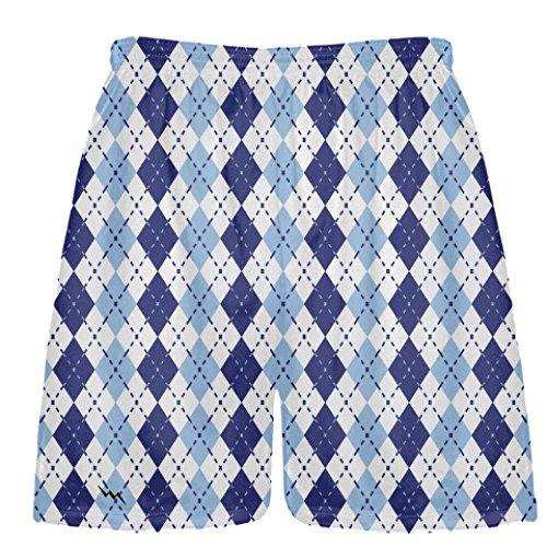 LightningWear Navy Blue Powder Blue Argyle Shorts - Adult Small Lacrosse Shorts