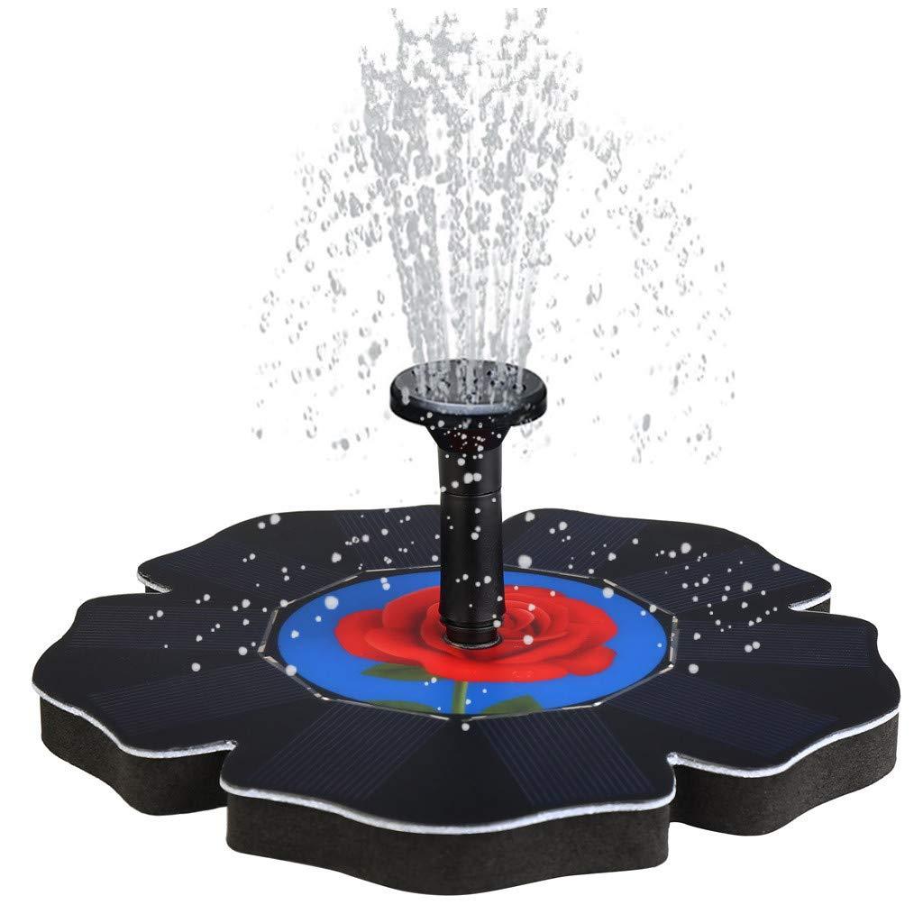 CHshe Pompe Solaire Rose, Fontaine de bain Pour oiseaux, EAU, Bassin, Jardin, Patio, décor, (Noir) Gartendekoration, Gartengeräte