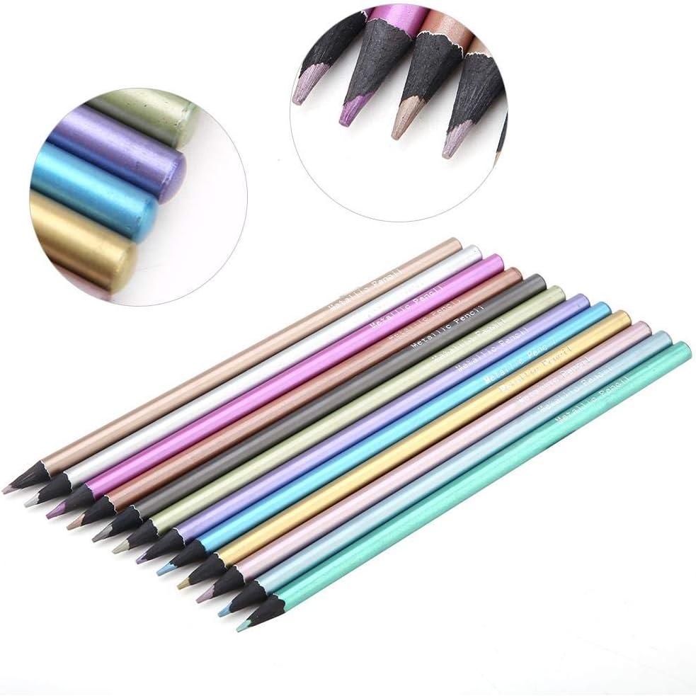 12pcs Metallic Buntstifte ungiftig schwarz Holzstifte Set zum Ausmalen B/ücher in 12 Farben