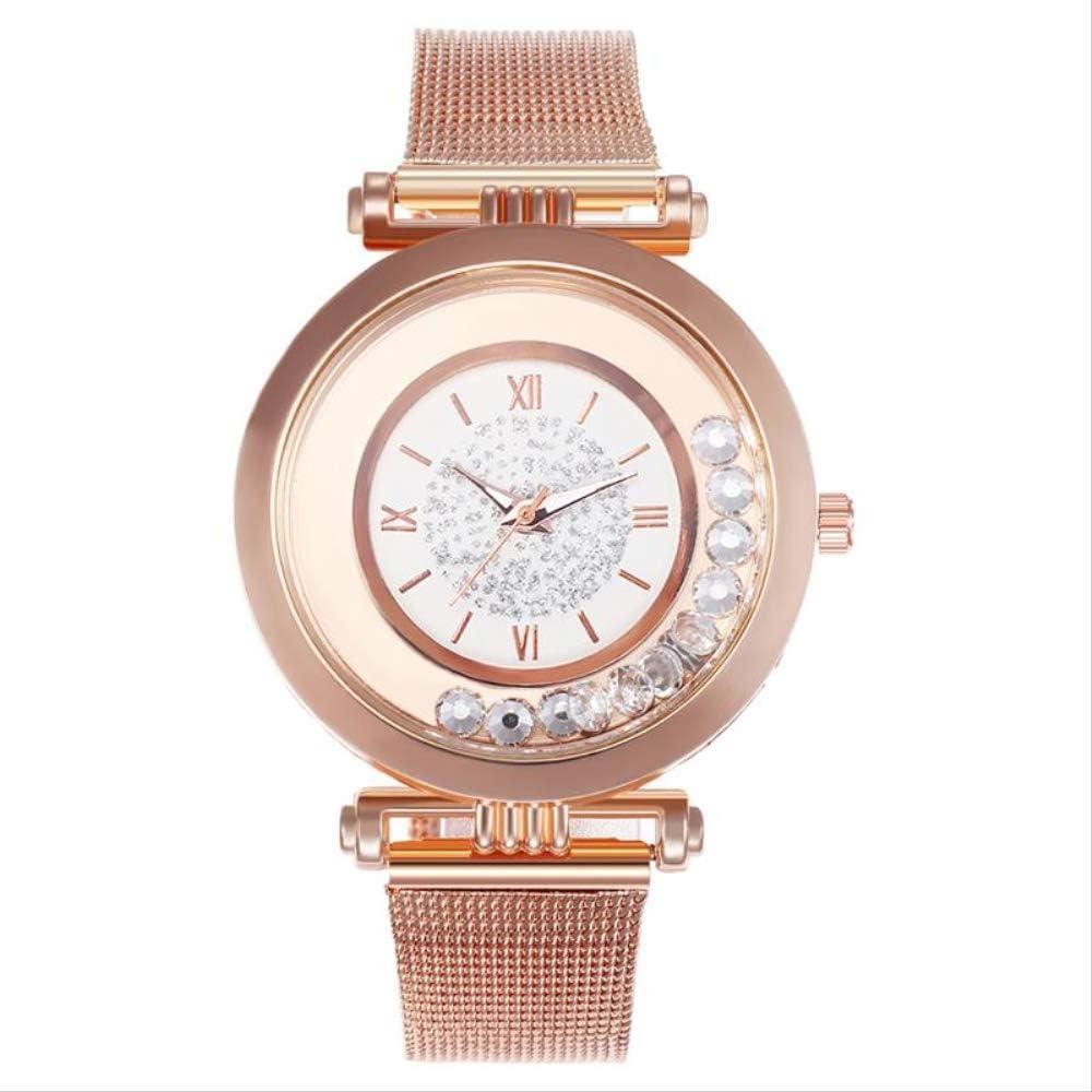 WLKVUOT Relojes De Cuarzo para Mujer Relojes De Diamantes Reloj De Pulsera De Cuarzo con Banda De Malla De Acero Inoxidable