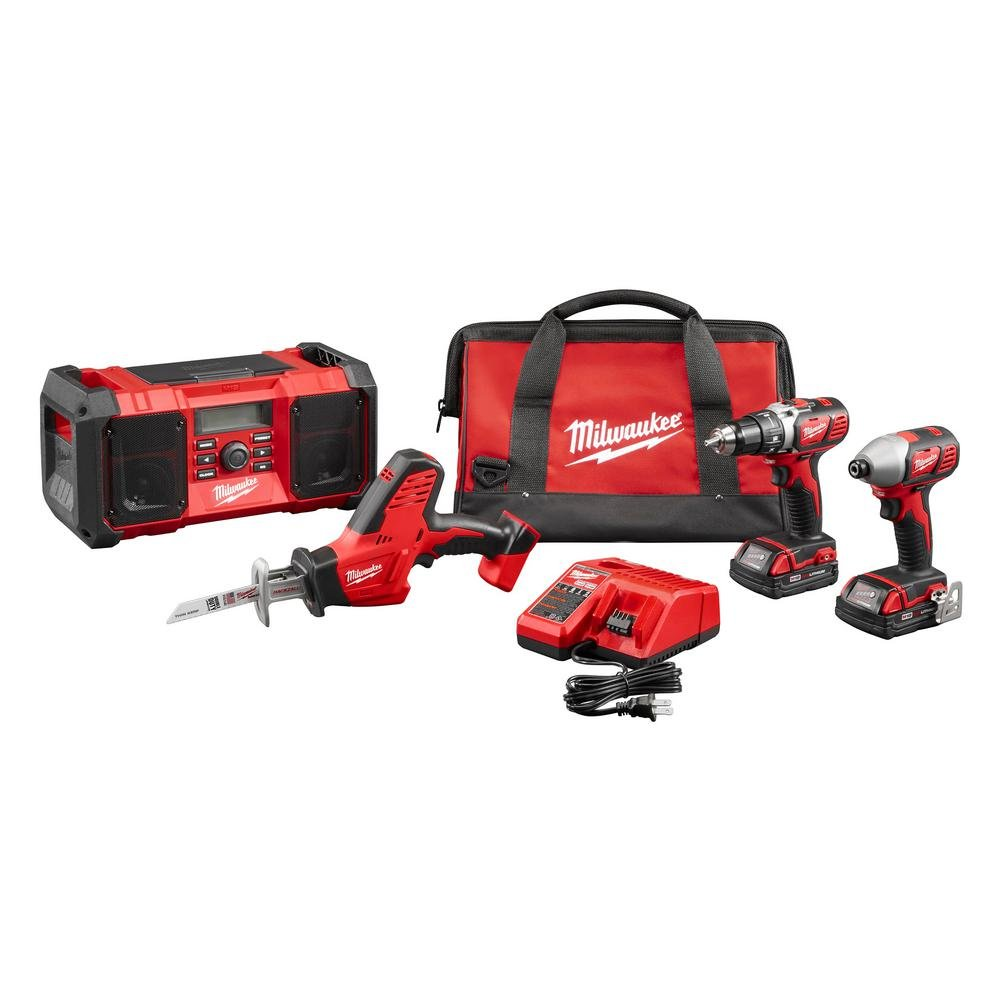 Milwaukee M18 18-Volt Lithium-Ion Cordless Drill/Impact Driver/HACKZALL/Radio Combo Kit (4-Tool) | Hardware Power Tools for Your Carpentry Workshop, Machine Shop or Jobsite Needs