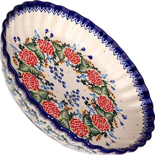 Dinnerware Pie Baker - Polish Pottery Ceramika Boleslawiec-1212/280 Motif Pie Baker, Royal Blue Patterns, Small