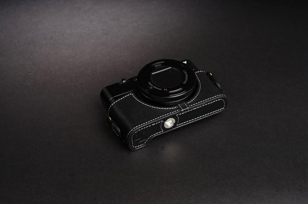 TP Handmade Genuine Real Leather Half Camera Case Bag Cover for SONY RX100 V IV III II M5 M4 M3 M2 MARK V Black Color