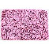 """JustNile Microfiber Soft Bathroom Floor Mat/Shower Rug - 16"""" X 24"""" Pink"""