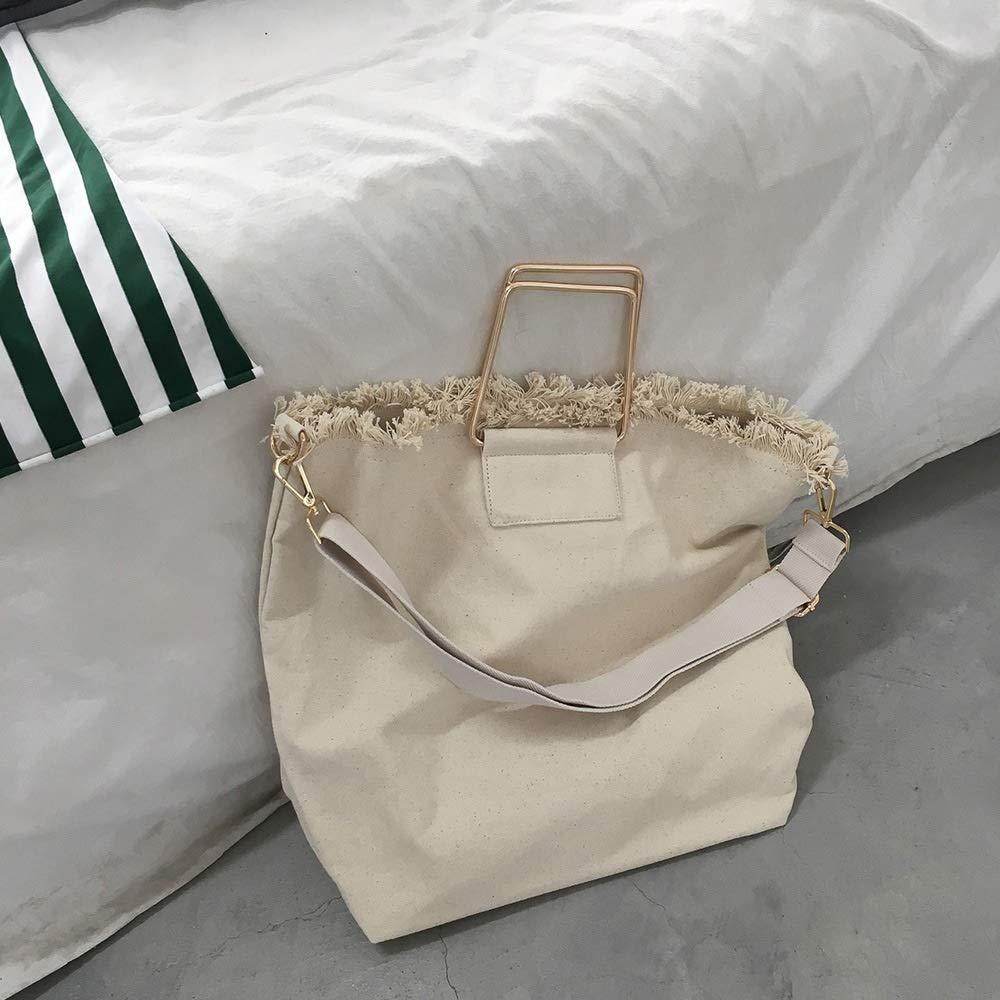 Kinue Fashion Tote Bag Multipurpose Large-Capacity Canvas Tote Shoulder Bag Square Metal Portable Ring Handbag Beige