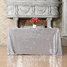 """3E Home 50x50"""" Square Sequin TableCloth for Party Cake Dessert Table Exhibition Events, Silver"""