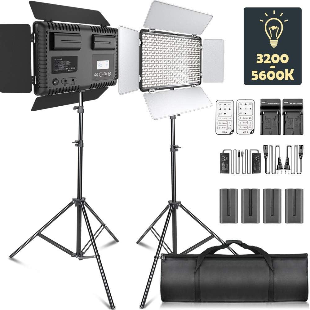 SAMTIAN LED Luz de Video Dimmable Bi-Color 600 Luces de Estudio LED Kit de iluminación: 3200K-5600K Panel de luz LED con Barndoor, Soporte de luz 2M para fotografía,Youtube Video
