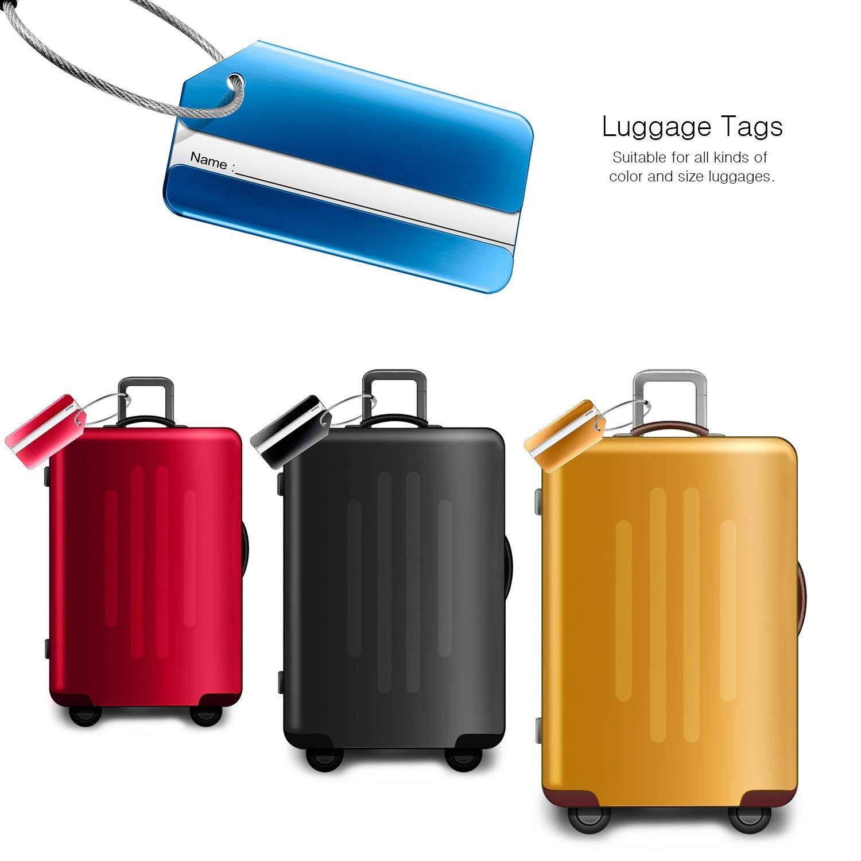 Etiquette Valise avec Cordes en Acier Inoxydable et Carte PVC /étanche iwobi 6 Pi/èce Bagages /Étiquettes en Alliage daluminium