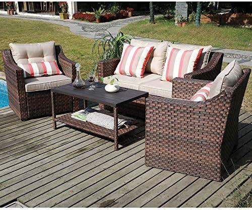 SUNSITT 4-Piece Patio Conversation Set All Weather Woven Brown Wicker Furniture Beige Cushions Coffee Table w Aluminum Top