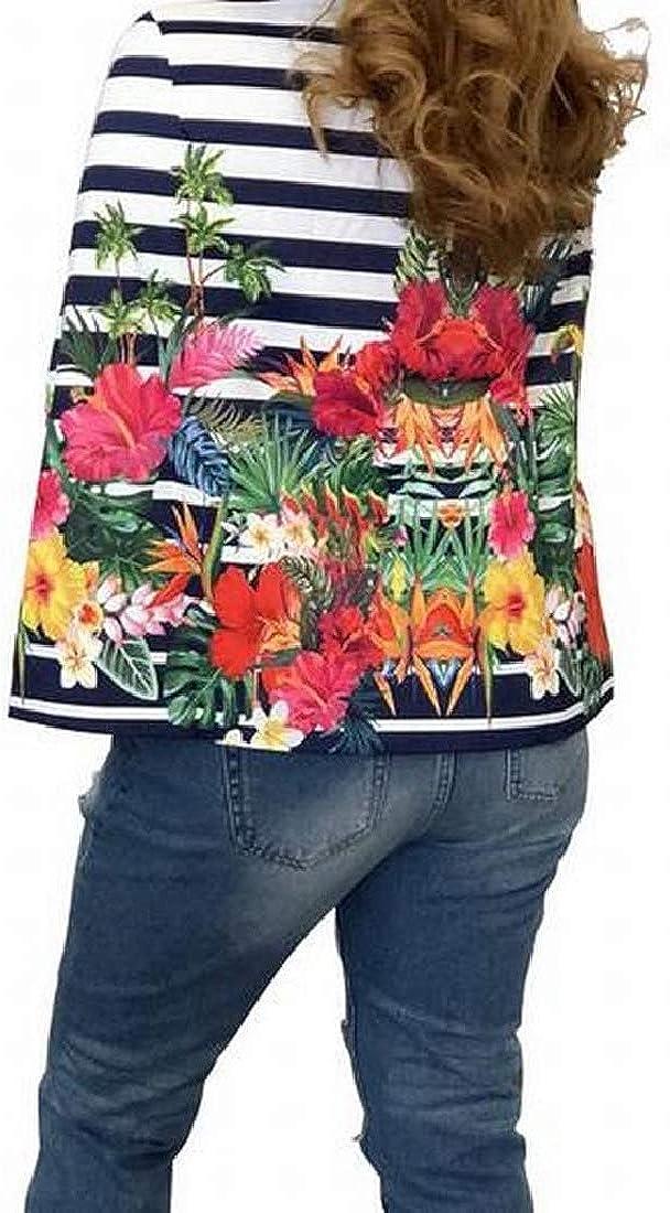 Fensajomon Women Flower Print Split Open Front Cloak Business Work OL Blazer Jacket Coat