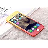 iPhone 6/6S All round Protection Case 360 Degree Protective Case Gradient Case Full coverage Hard case Ultra Light and Ultra Thin with Tempered Glass Screen Protector for iPhone 6/6 S (4.7 inch) (Yellow+Red)