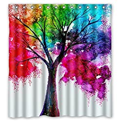 Generic Personalized Rainbow Tree Of Life Colorful Painting Design Shower Curtain