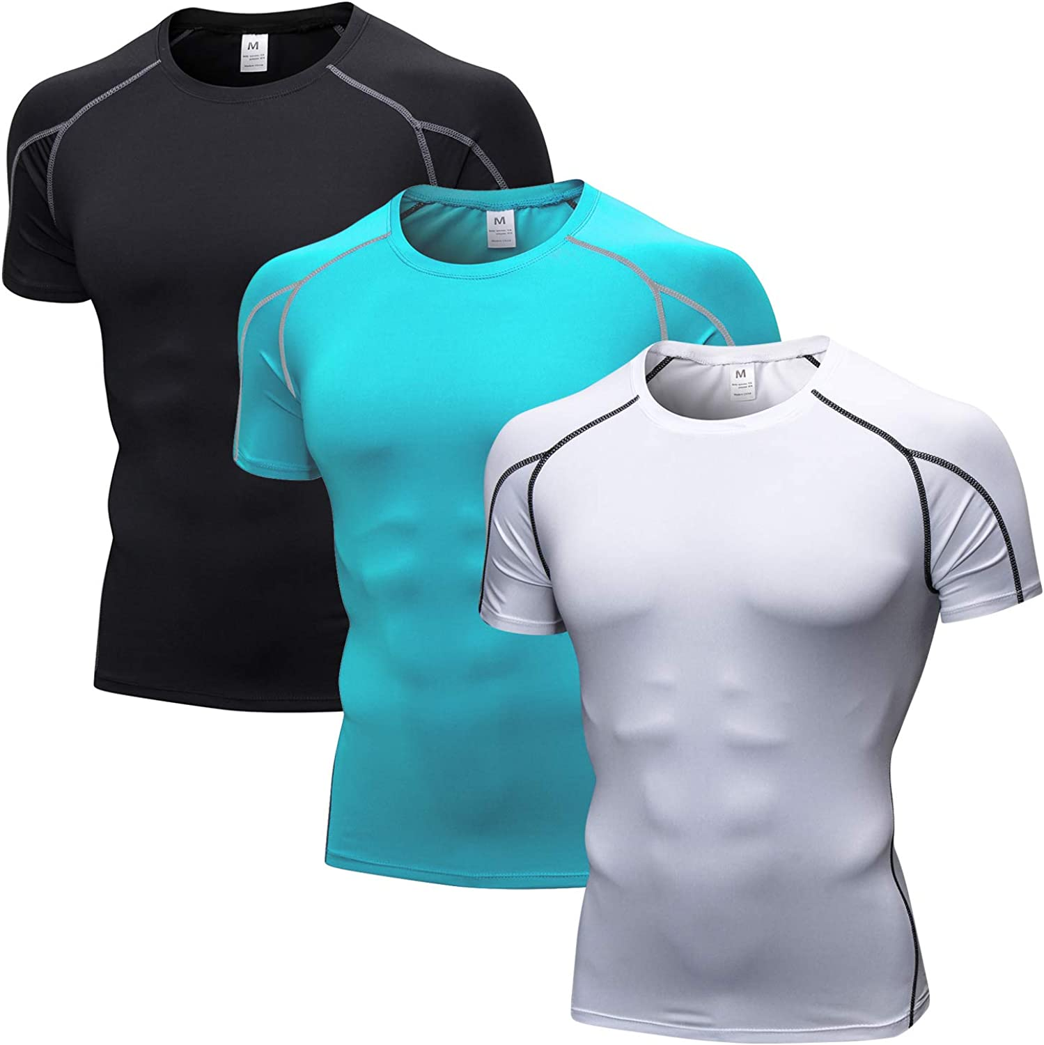 HUAKANG 3 Pack Compression Shirt for Men Dry Fit Mens Underwear Workout Shirt Cool Dry fit Shirts Men