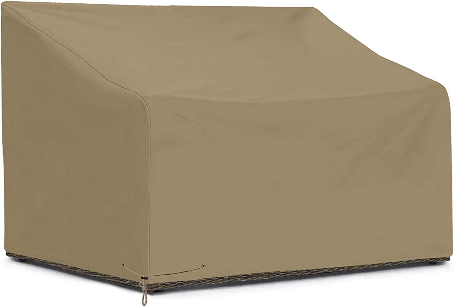 SunPatio Outdoor Sofa Cover, Patio Heavy Duty Waterproof Deep Seat Loveseat Cover with Sealed Seam, Patio Furniture Cover, 54''L x 40''W x 32''/22''H, FadeStop Material, All Weather Protection, Taupe