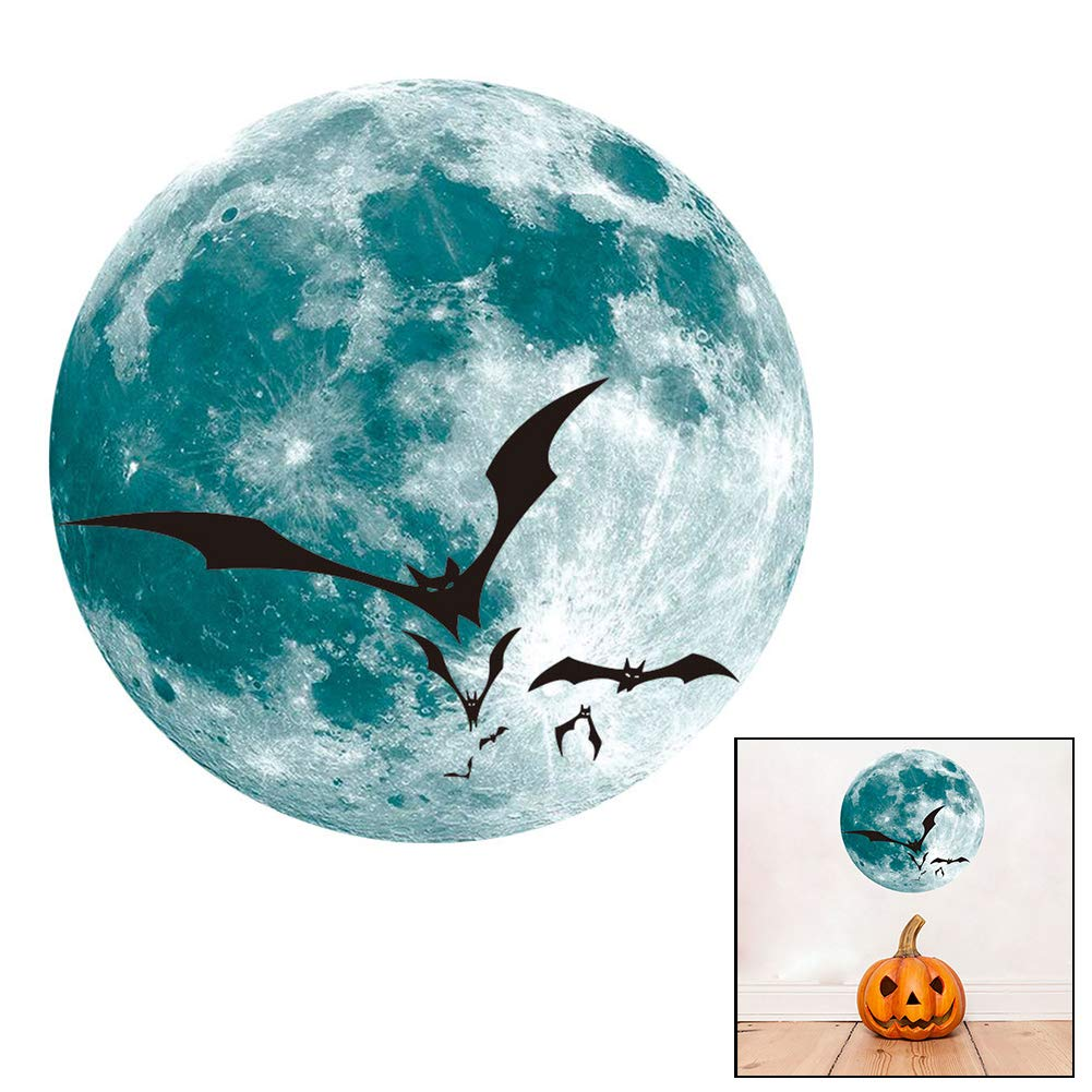 Hieefi 1Pc Creativo de Halloween Luminoso de la Luna Pegatinas de Pared Desmontables Luminosos Etiquetas de la Pared de Halloween decoraci/ón de la Pared de Cristal Etiqueta de la Ventana la Bruja