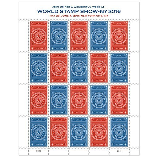 Sheet Of 20 World Stamp Show Ny 2016 Forever Stamps From The U S  Postal Service  2015 New Release  By Usps
