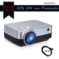 "Mini Proyector Portátil 0.9kg Excelvan Q6 Panel Táctil Mejorado 176"" 1080P Full HD Video Proyector LED Apto para HDMI Proyector de Cine en Casa Compatible con iPhone / Android / PS4 / Laptop / TV Box"