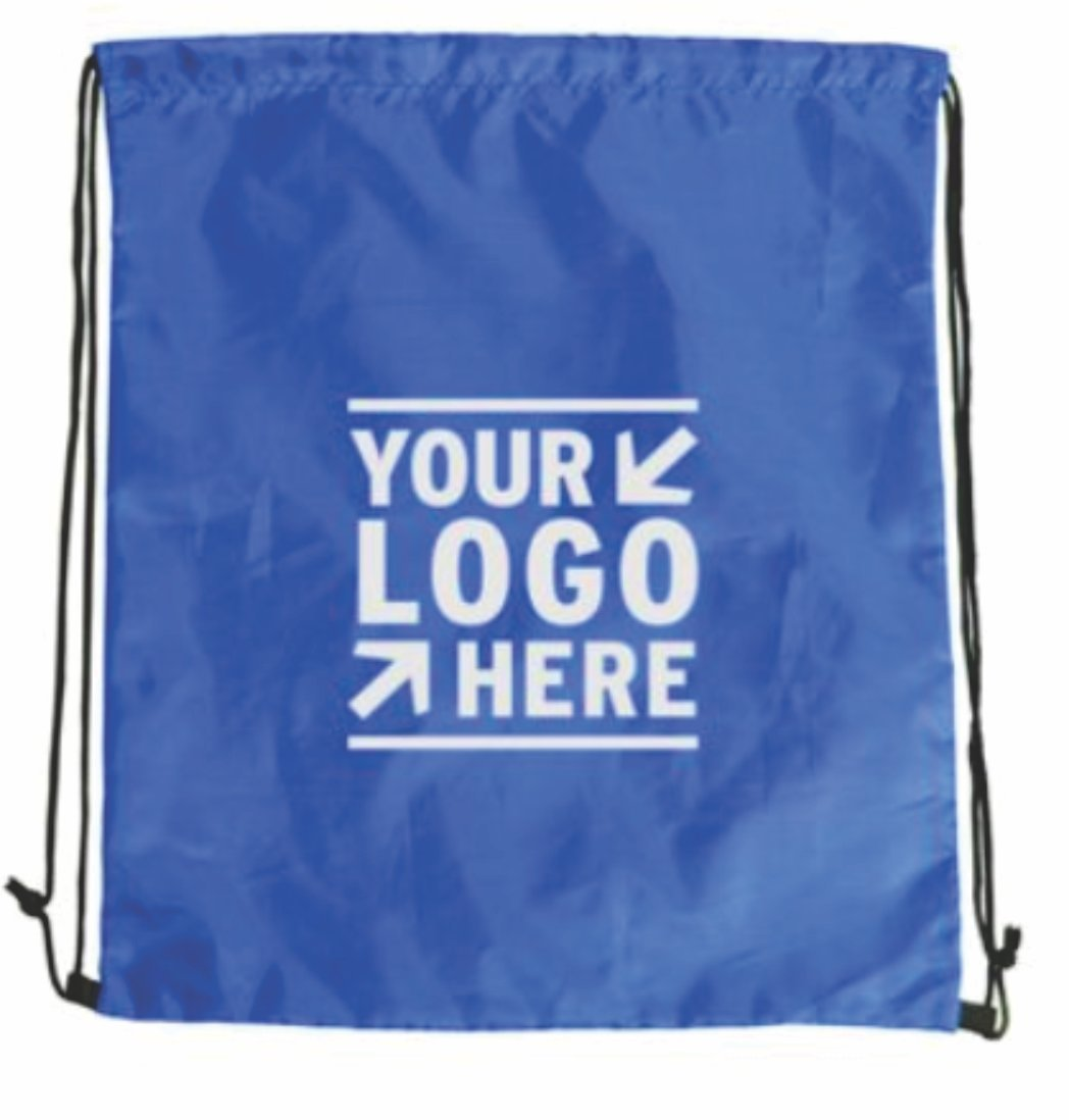 Custom Printed Drawstring Cinch Backpacks - 150 Quantity - $2.14 Each - Promotional Product / Customized with Your Logo (13.5'' W x 16.25'' H) (Royal Blue)