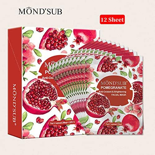 [12 Sheet]Brightening Facial Mask Sheet-Moisturizing&Hydrating Face Masks-Collagen Essence Skin Care-Natural Skin Lightening- Organic Fruits Extracts-For All Skin Types[MOND'SUB]