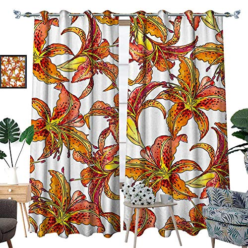 homehot Curtains for Bedroom Seamless Pattern with Tiger Lilies W120 x L96 Drapes (Drapes Lily Tiger)