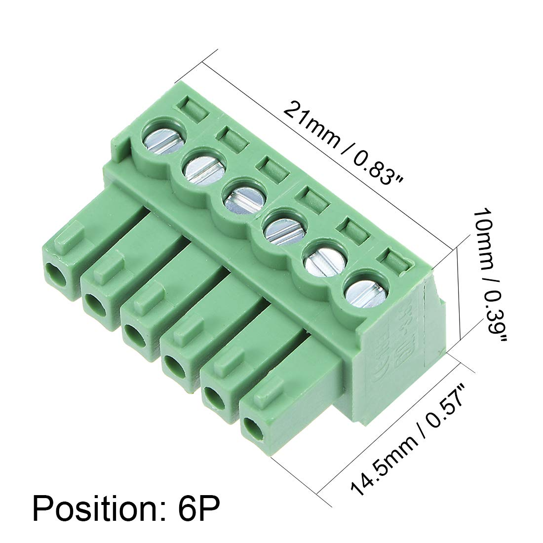 uxcell 15Pcs AC 300V 8A 3.5mm Pitch 2P Flat Angle Needle Seat Plug-In PCB Terminal Block Connector green