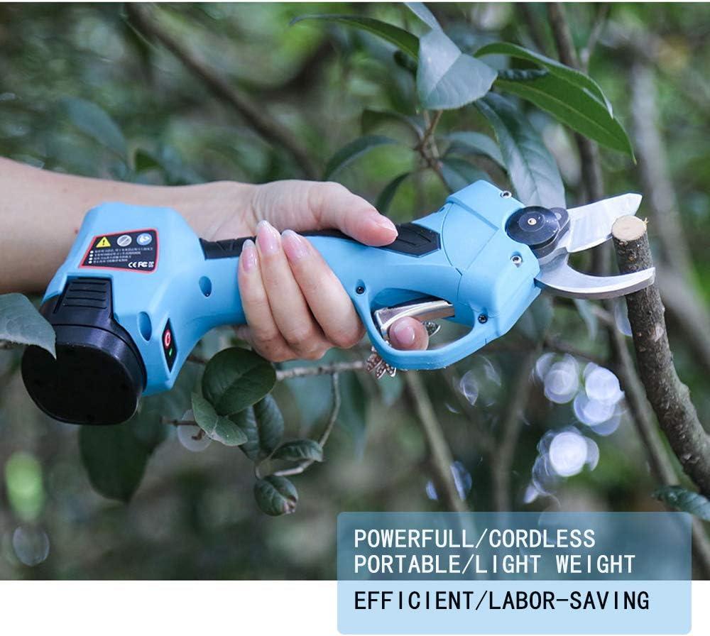 S/écateur /électrique sans fil professionnel 16,8 V s/écurit/é anti-coupure diam/ètre de coupe de 25 mm,coupe-arbre aliment/é par batterie au lithium 2 pi/èces de secours 2 Ah 6-7 heures de travail