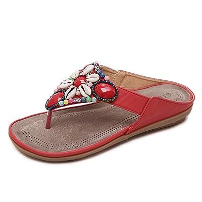 APTRO Women's Wide Width Fashion T Strap Flat Sandals Bohemia Rhinestones Thong Flip Flops Beach Shoes | Flats