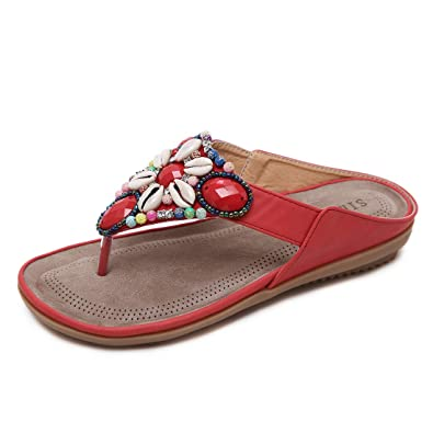 9fb27c704b98 APTRO Women s Rhinestone Flat Wedge Sandals T-Strap Thong Sandals Bohemia  Flip-Flops